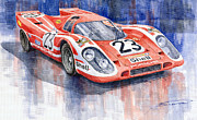 Watercolor  Painting Framed Prints - Porsche 917K Winning Le Mans 1970 Framed Print by Yuriy  Shevchuk