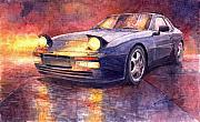 Vintage Cars Framed Prints - Porsche 944 Turbo Framed Print by Yuriy  Shevchuk