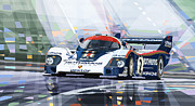 Automotive Framed Prints - Porsche 956 Rothmans 1982 1000km Francorchamps Derek Bell Framed Print by Yuriy  Shevchuk