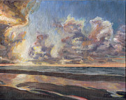 Surfing Art Painting Originals - Port Aransas Sunrise by Adam Johnson