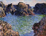 Port Paintings - Port Goulphar Belle Ile Brittany by Claude Monet