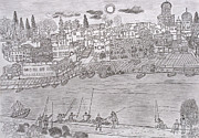 Port Drawings - Port Haifa by Yuriy Mkhitaryants