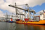 Handling Framed Prints - Port-industrial 3 - Container handling Framed Print by Dean Harte