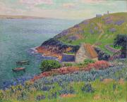 Sea View Framed Prints - Port Manech Framed Print by Henry Moret
