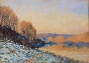 Winter Scenes Rural Scenes Prints - Port Marly White Frost Print by Alfred Sisley
