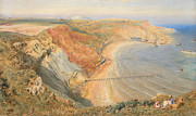 Sandy Beaches Painting Prints - Port Mulgrave Print by HB Richardson