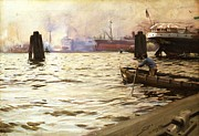 Hamburg Paintings - Port of Hamburg by Pg Reproductions