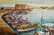 Greece Watercolor Paintings - Port of Heraklion by Andre Salvador
