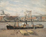 Sailboat Ocean Paintings - Port of Rouen by Camille Pissarro