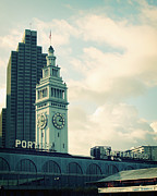 Teal Mixed Media Posters - Port of San Francisco Poster by Linda Woods