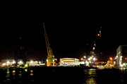 Cranes Prints - Port of Tampa at Night Print by Carolyn Marshall