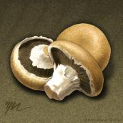 Earth Tones Drawings Prints - Portabello Mushrooms Print by Marshall Robinson