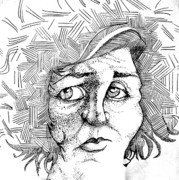 Nose Drawings - Portait of a Woman by Michelle Calkins
