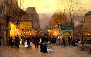 Crowd Scene Paintings - Porte St Martin at Christmas Time in Paris by Luigi Loir