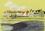 Dog Walking Drawings Prints - Porthcawl Promenade Print by Lynn Blake-John