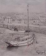 Fishing Boat Drawings Framed Prints - Porthleven Harbour Cornwall Framed Print by Venessa Lagrand