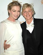 Awards Photo Framed Prints - Portia Di Rossi, Ellen Degeneres Framed Print by Everett