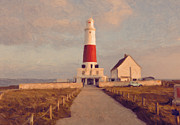 Portland Bill Lighthouse Center Print by Nop Briex