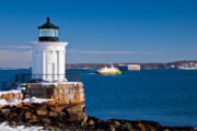 Maine Lighthouses Framed Prints - Portland Breakwater Lightd Framed Print by Susan Cole Kelly