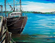 Scott Nelson And Son Painting Metal Prints - Portland Harbor - Home Again Metal Print by Scott Nelson