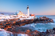 New England Ocean Framed Prints - Portland Head Greets the Sun Framed Print by Susan Cole Kelly
