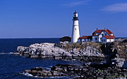 Maine Lighthouses Photo Posters - Portland Head Inshore Poster by Skip Willits