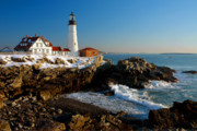 Portland Lighthouse Photos - Portland Head Light - lighthouse seascape landscape rocky coast Maine by Jon Holiday