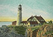 Maine Shore Painting Prints - Portland Head Light at Sunrise Print by Dominic White