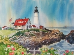 Water Paintings - Portland Head Light by Dianna  Willman