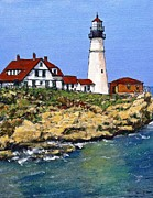 Maine Drawings Originals - Portland Head Light House by Randy Sprout