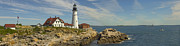 Rocky Coast Framed Prints - Portland Head Light Panorama  Framed Print by Mike McGlothlen