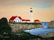 Head Harbour Lighthouse Paintings - Portland Head light by Riana Van Staden