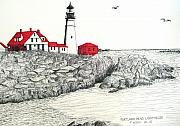 Seacoast  Drawings Metal Prints - Portland Head Lighthouse Drawing Metal Print by Frederic Kohli