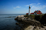 East Coast Rocks Posters - Portland Head Lighthouse Poster by Heather Applegate