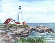 Maine Shore Drawings Prints - Portland Head Lighthouse Maine USA Print by Carol Wisniewski