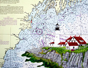 Portland Lighthouse Prints - Portland Head Lighthouse Print by Mike Robles