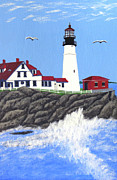 New England Lighthouse Paintings - Portland Head Lighthouse Painting by Frederic Kohli