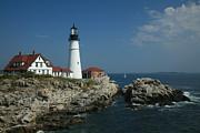 Maine Lighthouses Framed Prints - Portland Head Lighthouse Framed Print by Timothy Johnson
