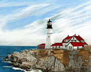 Maine Lighthouses Drawings Posters - Portland Head Lighthouse Poster by William Howard