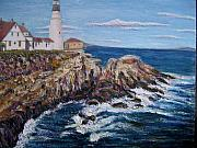 Maine Shore Originals - Portland Head Lighthouse with Rocks by Richard Nowak