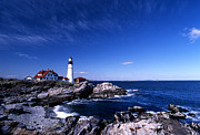 Maine Lighthouses Photo Posters - Portland Head Offshore Poster by Skip Willits