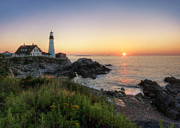 Portland Lighthouse Photos - Portland Head Sunrise by Lori Deiter