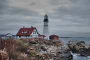 Guy Whiteley Framed Prints - Portland Headlight 14456 Framed Print by Guy Whiteley