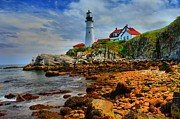 Maine Lighthouses Posters - Portland Headlight Poster by Adam Jewell