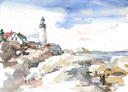 Maine Shore Painting Prints - Portland Headlight Print by Cindy Spencer