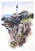 Mike Hill Art - Portland Lighthouse by Mike Hill