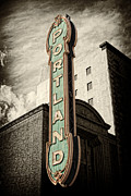 Brick Buildings Prints - Portland Marquis Print by Danielle Denham
