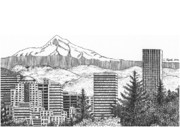 Buildings Drawings Framed Prints - Portland-Mt. Hood Framed Print by Lawrence Tripoli