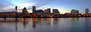 Businesses Prints - Portland Oregon panorama at dusk. Print by Gino Rigucci