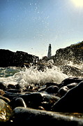Maine Lighthouses Framed Prints - Portland Splash Framed Print by Emily Stauring